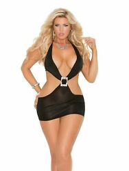 Womens Plus Size Black Deep V Club Bodycon Mini Dress Lingerie