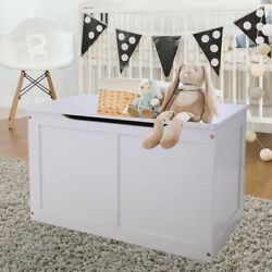 Wooden Toy Box Large Storage Chest Organizer for Kids with Lid White Bedroom