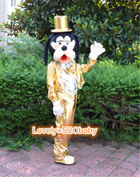 Golden Goofy Mascot Costume Cartoon Dog Christmas Cosplay Party Fancy Dress Suit $128.98