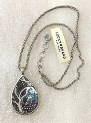 Lucky brand jewelry antique matte silver tone long double-sided pendant necklace
