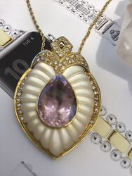 14KT YELLOW GOLD WITH KUNZITE**DIAMONDS AND MOTHER OF PEARL ENHANCER NECKLAC