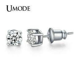 UMODE White Gold Color 4 Prong Small Cute AAA Top Grade 0.5ct Sona CZ  Post S…
