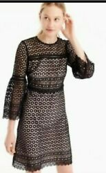 Holiday party dress. J. Crew Bell sleeve daisylace dress 00 Black NWT G7801 $39.99