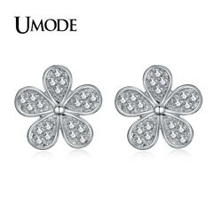 UMODE Cute Flower Shape Stud Earrings for Women White Gold Color Jewelry Fash…