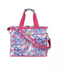 Lilly Pulitzer Insulated Cooler Bag Large Tote She She Shells + Lilly Keyfob