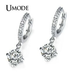 UMODE Loop with 8mm Round Top Grade CZ White Gold Color Hoop Earrings For Wom…