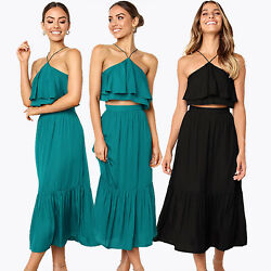 2PCS Women Cami Crop Top Long Maxi Skirt Summer Evening Party Office Beach Dress