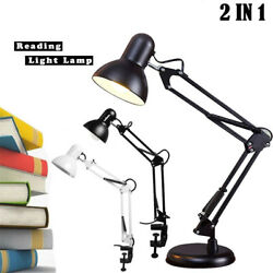 2 IN 1 Architect Desk Lamp Swing Arm Draft Light With Clamp Vintage Study Office $22.96