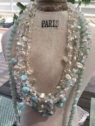 Amazing handcrafted AAA Larimar-KEISHI PEARL & Crystal Necklace 6 Str925 silver