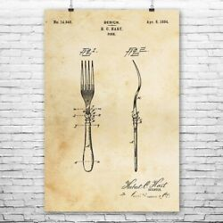 Fork Poster Print Kitchenware Art Culinary Gifts Kitchen Decor Chef Gift $17.95