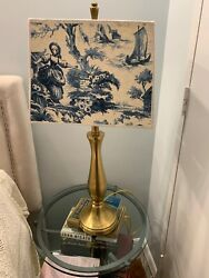 "Stiffel Lamp With French Blue And White Shade 30""Tall With Shade. $89.99"
