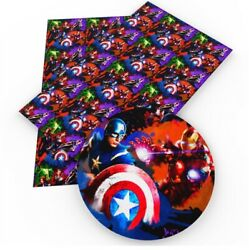 Iron Man Captain Superhero Faux Leather Sheets Printed A4 Vinyl Fabric Sheet