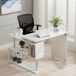 Home Office Rotating Computer Desk Workstation Study PC Table w Storage Shelves $159.99