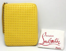 Auth Christian Louboutin CRIS iPad Tablet case Clutch bag Yellow Spikes #01864 $479.00