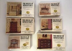 The House of Miniatures Lot of 6 X-Acto (2 Sealed) Bed Chest Chair Table Candle