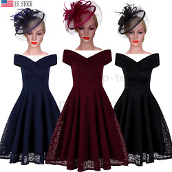 Vintage 1950#x27;s Hepburn Rockabilly Lace Homecoming Evening Swing Dress Cocktail $29.99