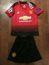 2018 19 Manchester United Home Kids Kits Champions League Edition Awesome KIDS $59.00