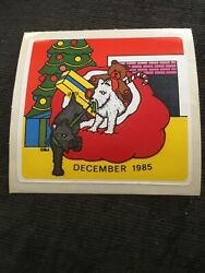 Vtg 1980s BJ Sticker of the Month Christmas December 1985 Dogs Decal Specialties