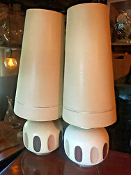 ATOMIC 2 MID CENTURY MODERN PAIR TABLE LAMPS CONE SHADES $450.00