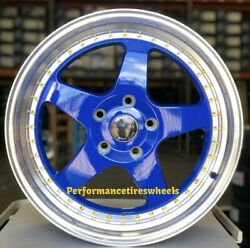 SET OF 4 NEW VENOM WHEELS 11 17X8 5X112 +30 NEON BLUE MACHINE LIP GOLD RIVETS