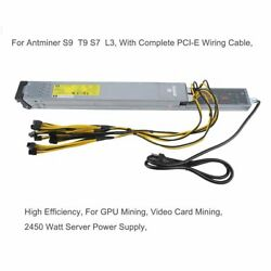 2450 Watt Server Power Supply For Antminer S9 T9 S7 L3 With Wiring Cable MY