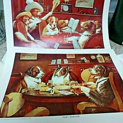 3 DOGS PLAYING POKER CM COOLIDGE VINTAGE ORIGINAL ART PRINT Man cave She shed
