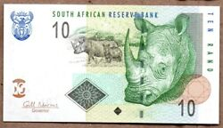 South Africa UNC Note 10 Rands ND 2009 P-128 Fancy Serial Number
