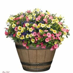 Whiskey Barrel Planters Outdoor Pot Classic Home And Garden 15quot; Distressed Oak $22.20