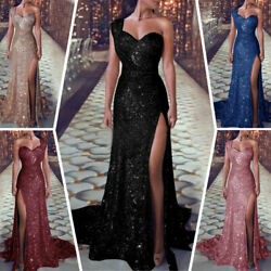 Women Prom Cocktail Evening Party Sparkly Long Maxi Dress Strapless Sequin Dress