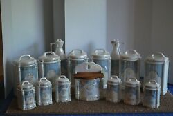 Antique German  Luster Canister Set - Includes Salt Box - Oil & Vinegar