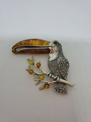 Baltic AmberSterling Silver Toucan Pendant
