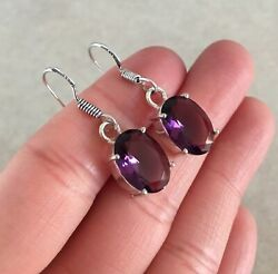 NATURAL OVAL PURPLE AMETHYST 925 STERLING SILVER DANGLE HOOK EARRINGS 1.25