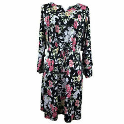 NY Collection Womens Dress Waist Tie Ruffled Sleeve Floral Black Plus Sz 1X
