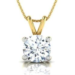 SPECTACULAR 2.00 CT F VVS2 ROUND DIAMOND PENDANT 14 K YELLOW GOLD NECKLACE