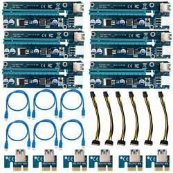 USB 3.0 PCI-E Express 1x to16x Extender 6 Pin Riser Card Adapter Kit LOT Sale MY