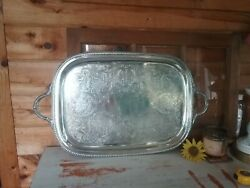 Vintage Art S Co Silver Platecopper Large serving tray Rectangle butler 27