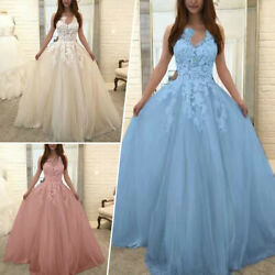 S 5XL Sleeveless Bridesmaid Dress Lace Crochet Prom Formal Dress V Neck Cocktail $40.99