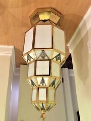Chandelier ART DECO Bronze with Milkglass MONUMENTAL 3 FT TALL