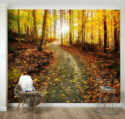 3D Golden Forest Sunshine Self adhesive Removable Wallpaper Feature Wall Mural $269.99