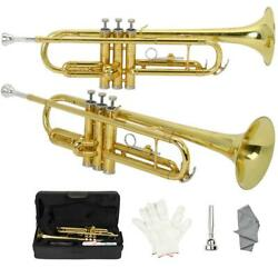 Brand New Golden Lacquer Brass Bb Trumpet + Case Student School Band
