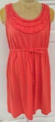 Lane Bryant Women's 1416 Cotton Slub Knit Sleeveless Dress Orange Smocked EUC