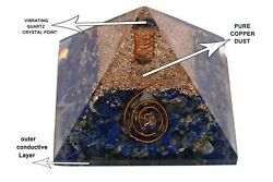 LARGE LG-70mm Orgonite Lapis Lazuli Orgone Pyramid EMF Protection  US Seller