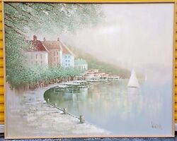 HUGE Lee Reynolds Signed Oil Painting Beach House Seascape Sail Boats Pastels
