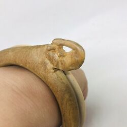 VTG Elephant Bangle Bracelet Wood Wooden Hand Carved African Jewelry Chunky
