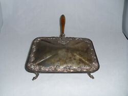 Vintage Silver-Plate Silent Butler Crumb Or Ash Collector Catcher w Wood Handle