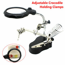 Helping Hand Clamp Magnifying Glass Soldering Iron Stand Len Magnifier Tool