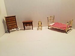Miniature Doll House Furniture Metal BedRocking Chair Chest of Drawers Desk