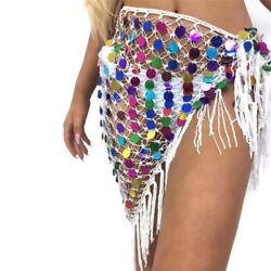 Ladies Skirt Colored Sequin Paillette Tassel Hollow Out Skirt Bandage Beach Sexy $19.02