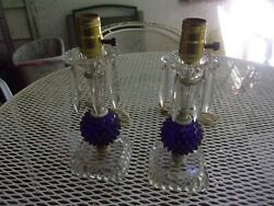 PAIR OF ANTIQUE LAMPS COBALT BLUE WITH HANGING CRYSTALS WORKING ORDER $120.00