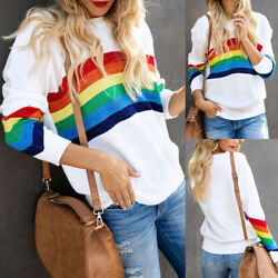 Women Striped Blouse Tops Ladies Rainbow Long Sleeve Shirt Fall Casual Holiday